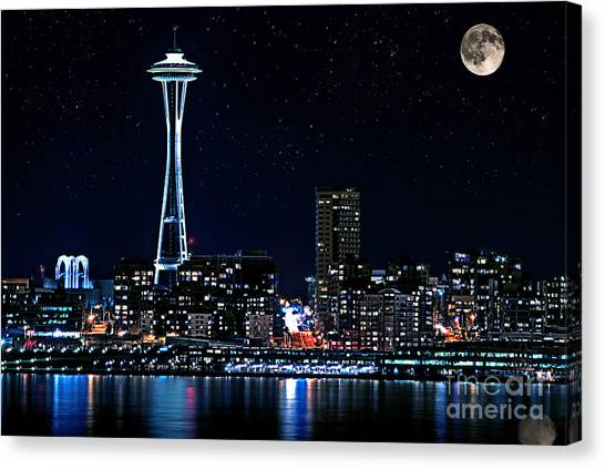 Seattle Skyline At Night With Full Moon Canvas Print