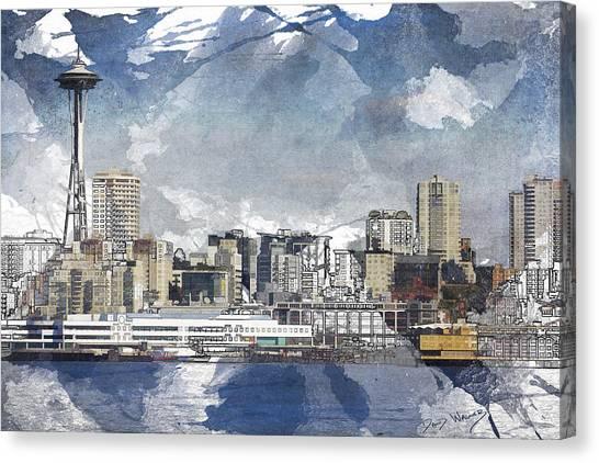 Seattle Skyline Freeform Canvas Print