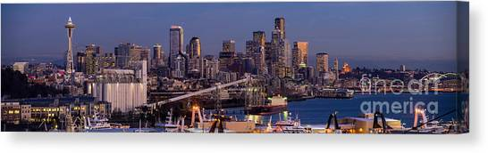 Space Needle Canvas Print - Seattle Skyline From Magnolia At Dusk by Mike Reid