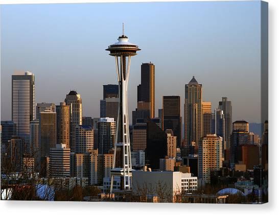 University Of Washington Canvas Print - Seattle Skyline by Mel Ashar