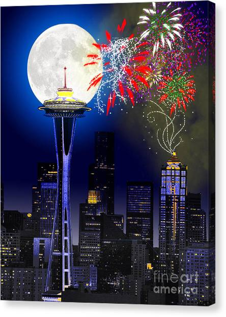 Seattle Skyline Canvas Print - Seattle Skyline by Methune Hively
