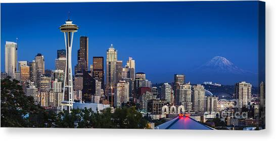 Seattle Skyline Panoramic Canvas Print