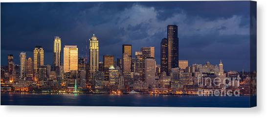 The Nature Center Canvas Print - Seattle Skyline Sunset Detail by Mike Reid