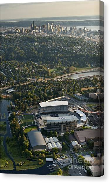 University Of Washington Canvas Print - Seattle Skyline With Aerial Of Husky St by Jim Corwin