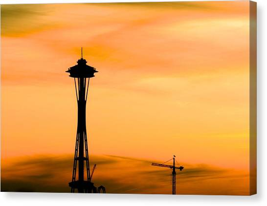 University Of Washington Canvas Print - Seattle Space Needle At Sunset by Mel Ashar