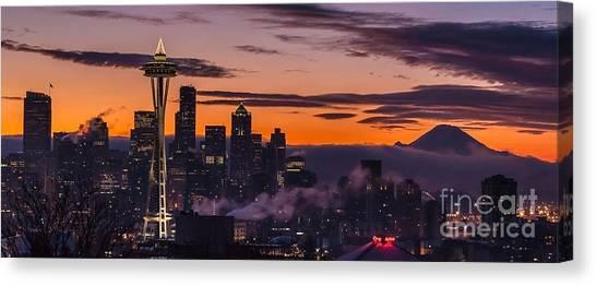 Mount Rainier Canvas Print - Seattle Sunrise Purples by Mike Reid