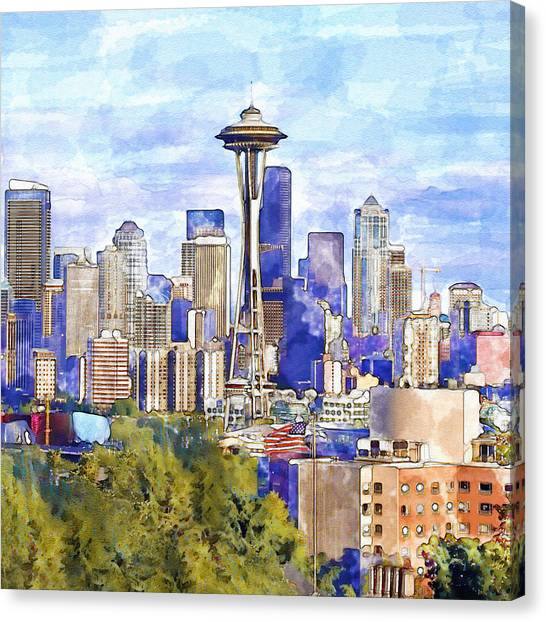 Space Needle Canvas Print - Seattle View In Watercolor by Marian Voicu