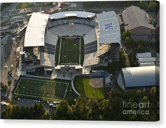 University Of Washington Canvas Print - Seattle With Aerial View Of The Newly Renovated Husky Stadium by Jim Corwin