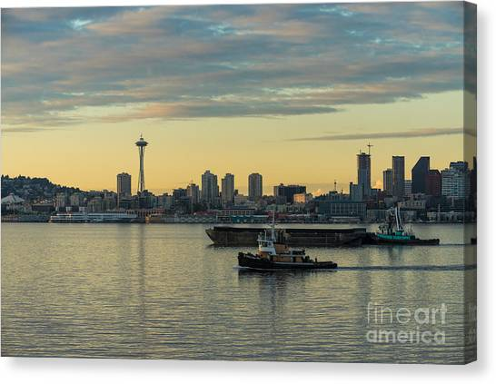 Seattle Skyline Canvas Print - Seattles Working Harbor by Mike Reid