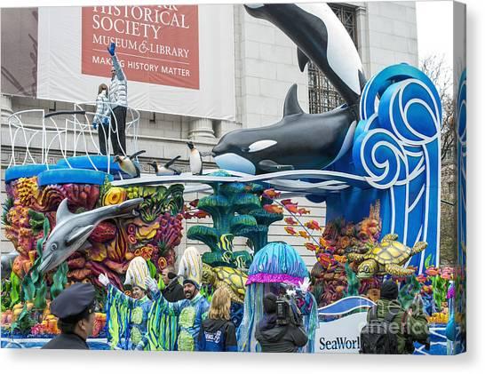 Macys Parade Canvas Print - Seaworld Float At Macy's Thanksgiving Day Parade by David Oppenheimer