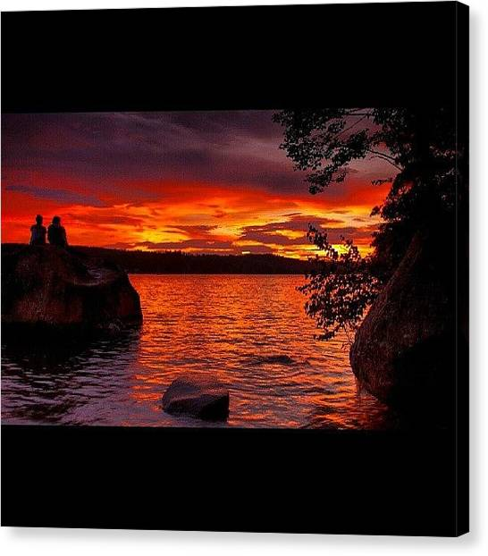 Sublime Canvas Print - Sebago Sunset  #sunset #tree by Shawn Baker