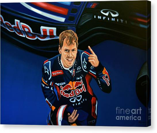 Formula Car Canvas Print - Sebastian Vettel by Paul Meijering