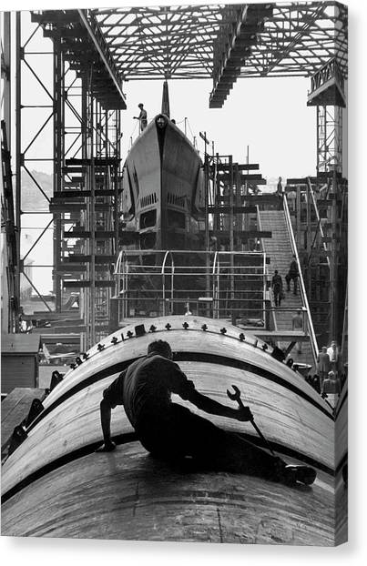 Wrenches Canvas Print - Second World War Submarine Production by Us Army/science Photo Library
