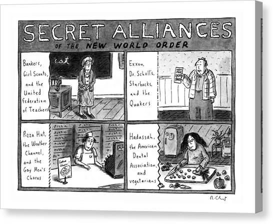 Girl Scouts Canvas Print - Secret Alliances Of The New World Order by Roz Chast