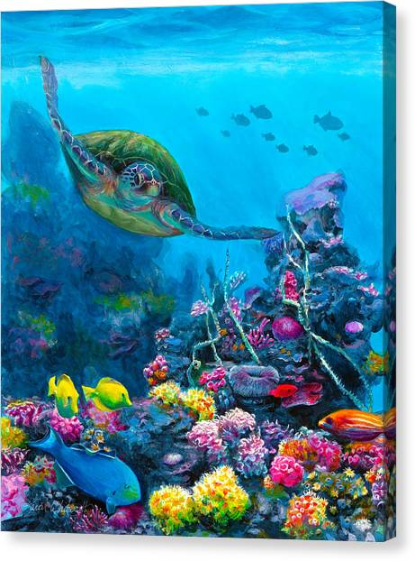 Saltwater Life Canvas Print - Secret Sanctuary - Hawaiian Green Sea Turtle And Reef by Karen Whitworth