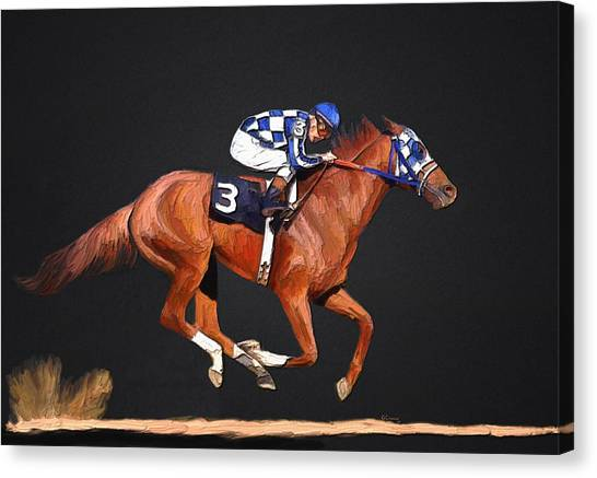Kentucky Derby Canvas Print - Secretariat And Turcotte by G Cannon