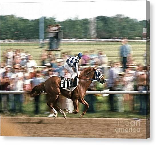 Secretariat Race Horse Winning At Arlington In 1973. Canvas Print