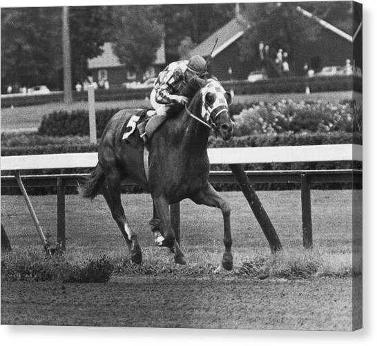 Quarter Horse Canvas Print - Secretariat Vintage Horse Racing #01 by Retro Images Archive