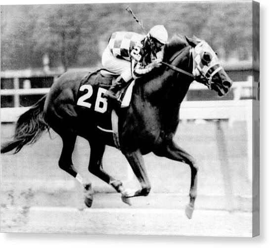 Horses Canvas Print - Secretariat Vintage Horse Racing #12 by Retro Images Archive