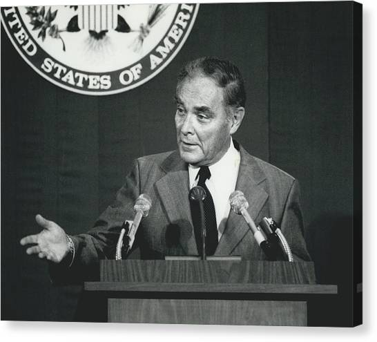 Secretary Haig Holds Press Conference Canvas Print by Retro Images Archive