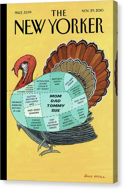 Turkey Dinner Canvas Print - Sectioned Diagram Of A Turkey For Thanksgiving by Bruce McCall