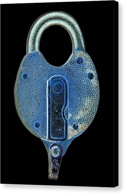 Secure - Lock On Black  Canvas Print by Denise Beverly