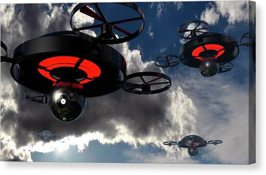 Big Brother Canvas Print - Security Drones by Christian Darkin