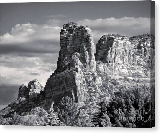 Sedona Arizona Mountain Peak - Black And White Canvas Print