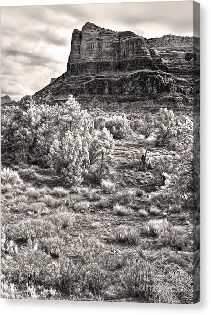 Sedona Arizona Mountain View  - Black And White Canvas Print by Gregory Dyer