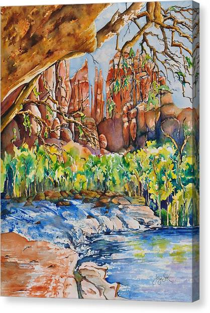 Sedona - Cathedral Rock Canvas Print by Joy Skinner