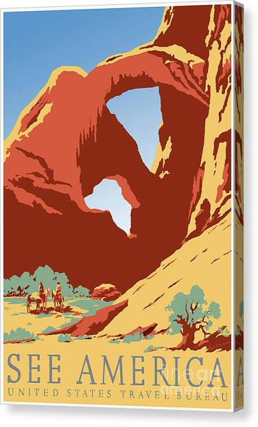 Mountain West Canvas Print - See America Vintage Travel Poster by Jon Neidert