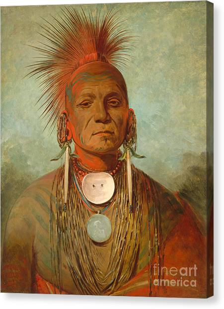 Native Americans Canvas Print - See Non Ty A An Iowa Medicine Man by George Catlin