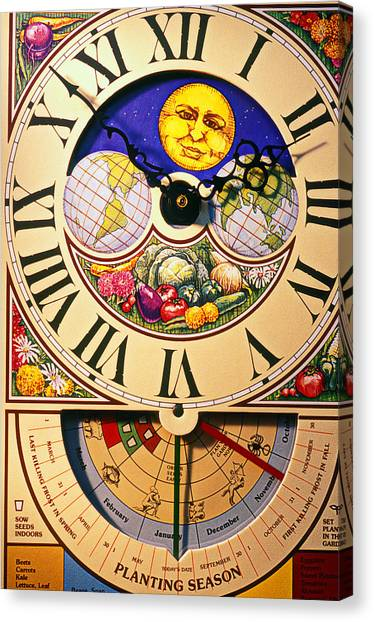 Ticks Canvas Print - Seed Planting Clock by Garry Gay