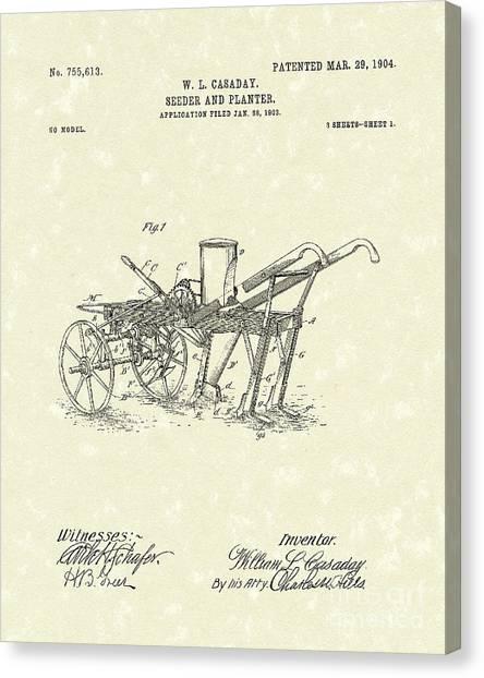 1904 Canvas Print - Seeder/planter 1904 Patent Art by Prior Art Design