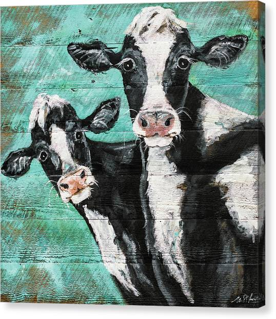 Cow Farms Canvas Print - Seeing Double by Molly Susan Strong