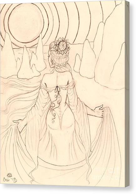 Seeing Spirits Sketch Canvas Print by Coriander  Shea