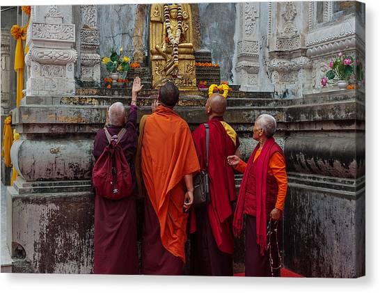 Budhism Canvas Print - Seeking Blessings Of Budha by Mukesh Srivastava