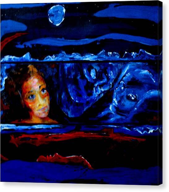 Seeking Sleep Trilogy Canvas Print by Kathy Peltomaa Lewis