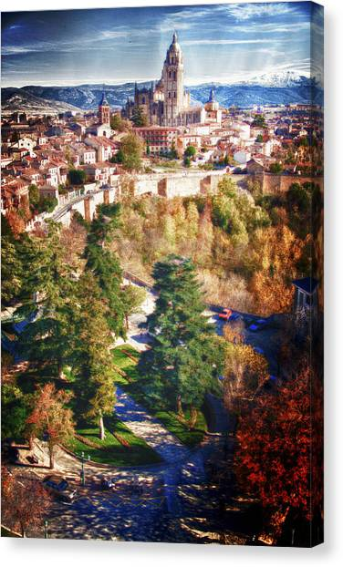 Segovia's Cathedral From The Alcazar Canvas Print