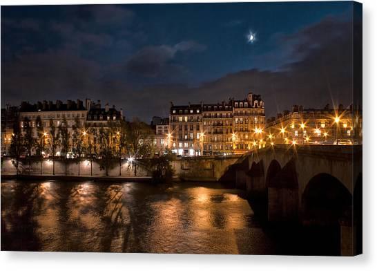 Seine River At Night Canvas Print