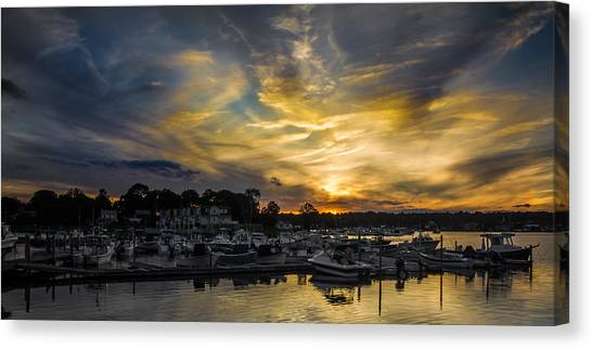 Selective Color Sunset - Mystic River Canvas Print