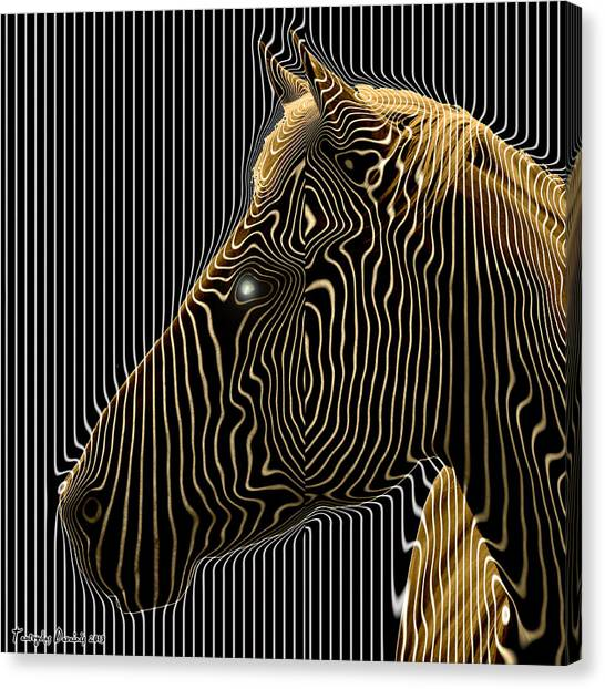 Self-conscious Attempt To Become Zebras.  2013  80/80 Cm.  Canvas Print by Tautvydas Davainis