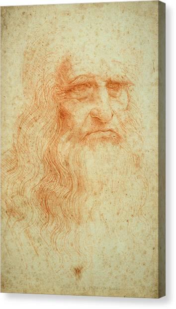 Pen And Ink Drawing Canvas Print - Self Portrait by Leonardo da Vinci