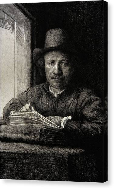 Baroque Canvas Print - Self-portrait Etching At A Window by Rembrandt