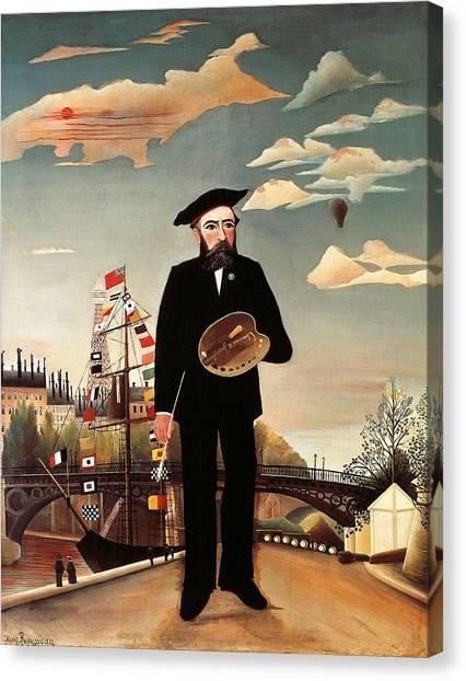 Blimps Canvas Print - Self Portrait by Henri Rousseau