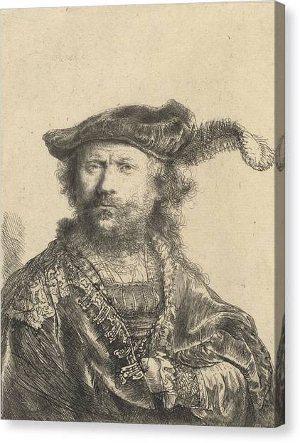 Baroque Canvas Print - Self Portrait In A Velvet Cap With Plume by Rembrandt