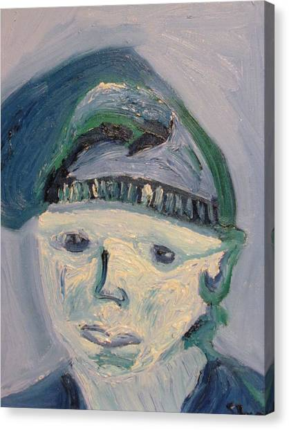 Self Portrait In Blue And Green Canvas Print