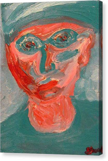 Self Portrait In Turquoise And Rose Canvas Print