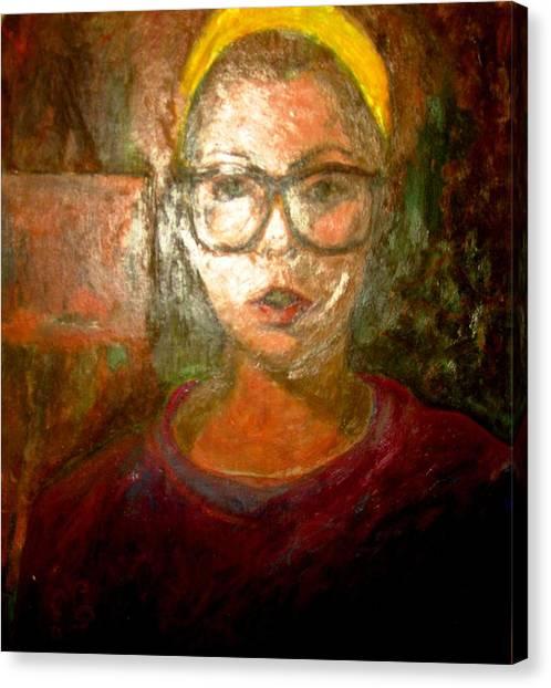 Self Portrait In Yellow Headband Canvas Print