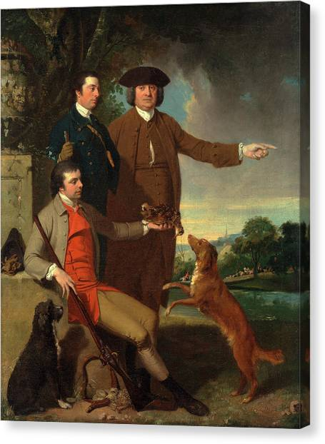 Woodcocks Canvas Print - Self-portrait With His Father And His Brother The Artist by Litz Collection